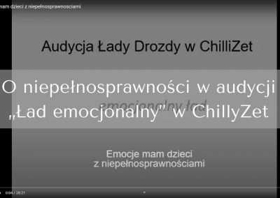 """O niepełnosprawności waudycji """"Ład emocjonalny"""" wChillyZet"""